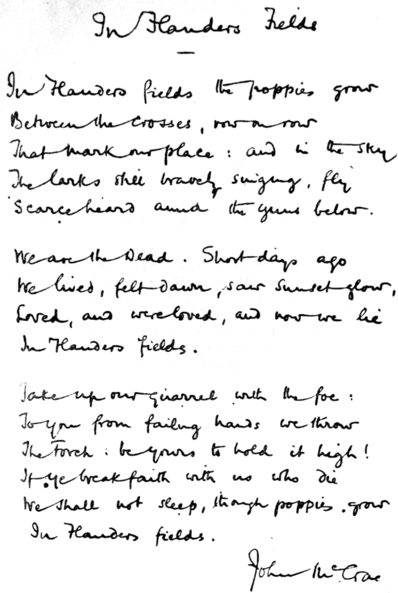 In Flanders Fields---John McCrae [Public domain, wikimedia commons]