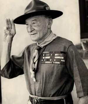 Robert Baden-Powell, in uniform [Attr: Public domain, wikimedia]