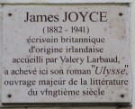 James Joyce memorial plaque, Paris [Attr: author: Monceau, creative commons]