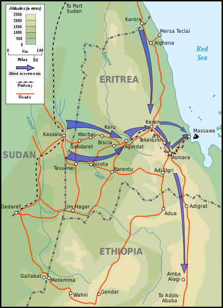 Keren and the Eritrea campaign in Italian East Africa, 1941 [Stephen Kirrage, GNU Free Documentation License, wikimedia commons]