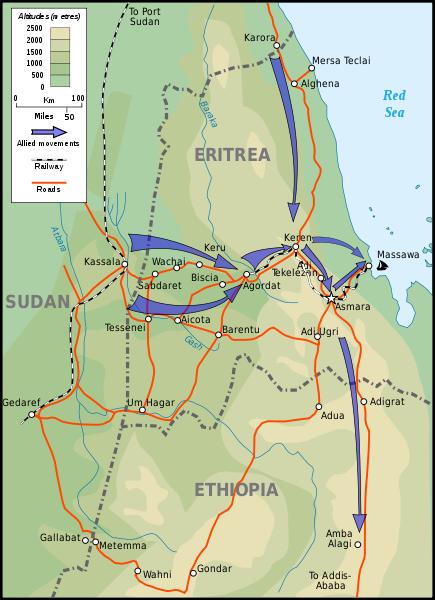 Keren and the Eritrea campaign in Italian East Africa, 1941 [Stephen Kirrage, GNU Free Documentation License, wikimedia commons]
