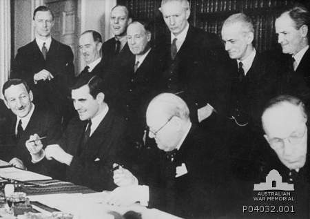 Winston Churchill and US Ambassador, John G. Winant sign the Lend-Lease Agreement, London, 11 March 1941 [Public domain, Australian War Memorial]