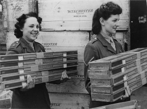 British Auxiliary Territorial Service (ATS) women unload armfuls of Winchester rifles newly arrived from the USA under the Lend-Lease Agreement, 1941 [Public domain, wikimedia]