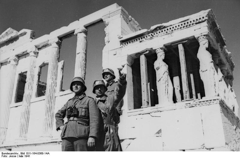 German soldiers look out from the Temple of Erichthonius, atop the Acropolis, Athens 1941 [Bundesarchiv, wiki]