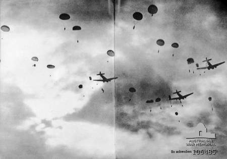 German paratroopers descend on Crete from their Junkers transport planes [Public domain, Australian War Memorial]
