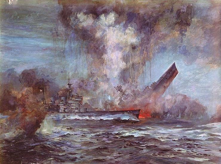 Sinking of HMS Hood, 24 May 1941; painting by J.C. Schmitz-Westerholt [Public domain, wiki]