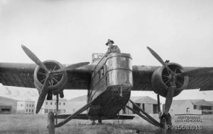 An Australian soldier stands in the cockpit of a captured Vichy French Marcel Bloch bomber, Rayak, Syria 1941 [Public domain, Australian War Memorial]