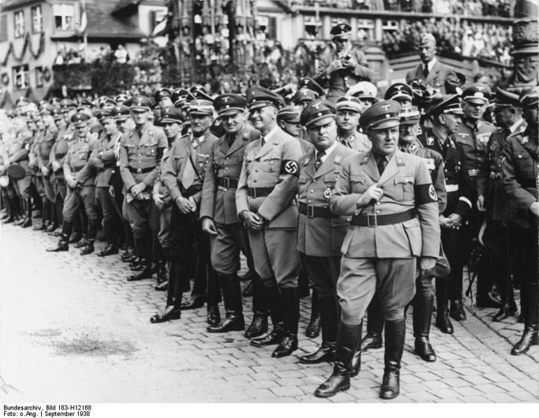 Martin Bormann stands at the fore, Nuremberg rally, 1938