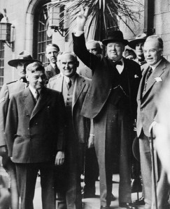 Churchill at the Second Quebec Conference. Canadian Prime Minister Mackenzie King is on the right [Public domain, wiki]