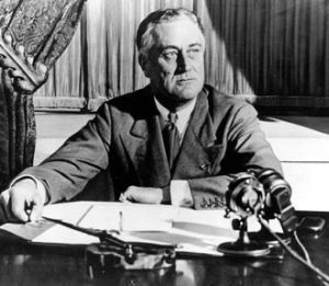 President Franklin D. Roosevelt broadcasts to the nation [Public domain, wiki]