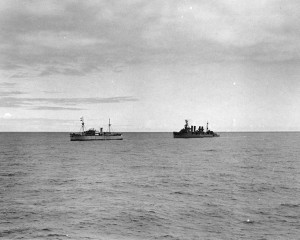 German blockade runner Odenwald (left) and United States cruiser USS Omaha, South Atlantic, November 1941 [Public domain, wiki]