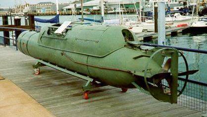 Italian manned torpedo on display at Gosport, UK [Public domain, wiki, author: Graeme Leggett]
