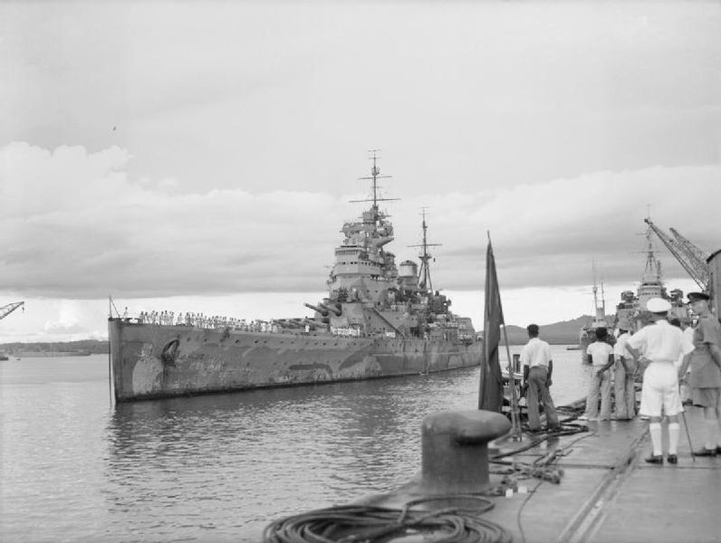 Battleship HMS Prince of Wales arrives in Singapore, 4 December 1941 [Public domain, wiki]