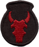 Embroidered shoulder sleeve insignia of the United States 34th 'Red Bull' Infantry Division [Public domain, wiki]