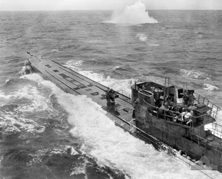 Type IX U-boat (U-848) under attack in the South Atlantic [Public domain, wiki]