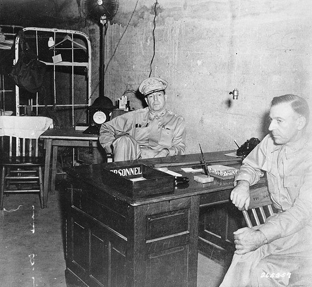 General Douglas MacArthur (left) with his Chief of Staff, in the headquarters tunnel in Corregidor, Philippines, 1 March 1942 [Public domain, wiki]