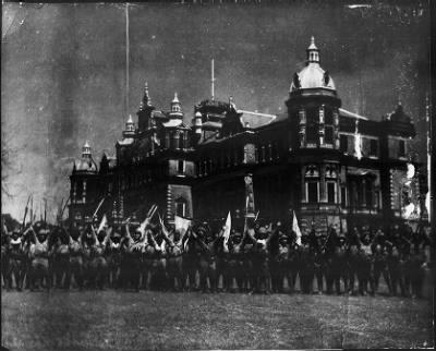 Victorious Japanese soldiers in front of Government House, Rangoon, March 1942 [Public domain, wiki]