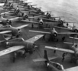 Aircraft readying for takeoff, flight deck of USS Hornet, morning of 4 June 1942 [Public domain, wiki]