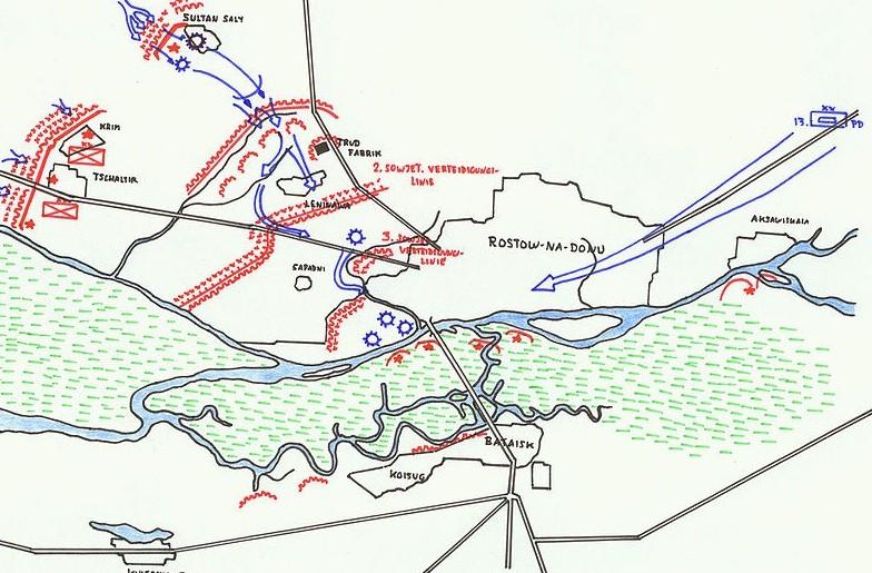 German advance on Rostov (shown in blue), July 1942 [Public domain, author: Graf zu Pappenheim]