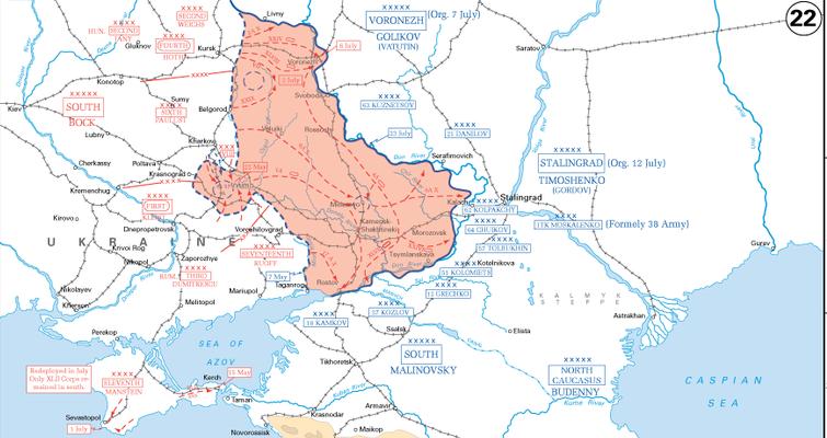 German summer offensive towards Stalingrad, 7 May---23 July 1942 [Public domain, wiki]