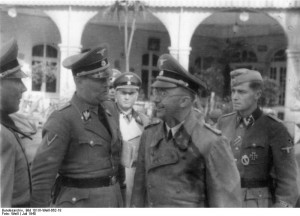 Heinrich Himmler with Waffen-SS officers, Hotel Brasseur, Luxembourg 1940 [Bundesarchiv Bild 101lll-Weill-062-18/ Weill /CC-BY-SA]