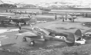 Squadron of Lockheed P-38 Lightning fighters, based at Adak in the Aleutians, 1942 [Public domain, wiki]