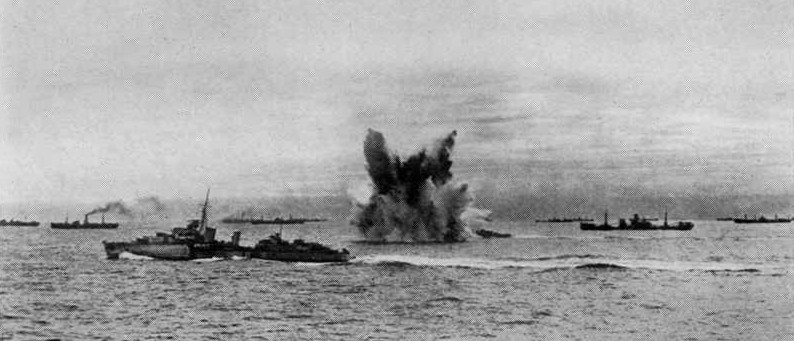 Torpedo attack on outbound Arctic convoy PQ18, September 1942 [Public domain, wiki]