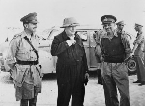 Montgomery (right) with General Alexander and Winston Churchill, Western Desert, August 1942 [Public domain, wiki]
