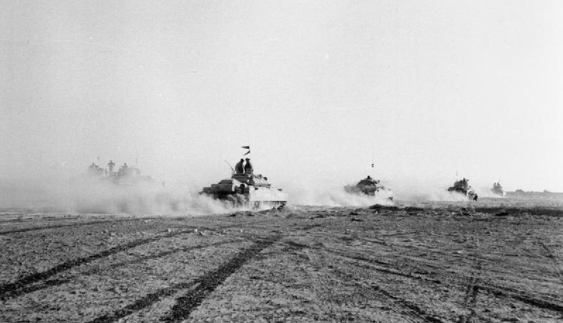 British tanks advance during the Battle of El Alamein, Egypt, October 1942 [Public domain, wiki]