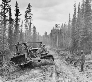 Construction of the Alaska Highway, 1942 [Public domain]