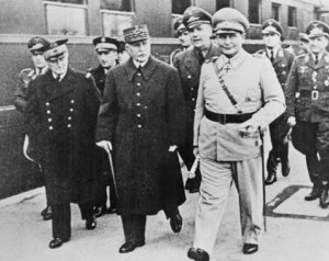 Marshal Petain with Darlan on his right (and Goering on his left, December 1941 [Public domain, wiki]