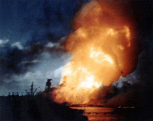 USS Arizona ablaze in Pearl Harbor, 7 December 1941 [Public domain, wiki]