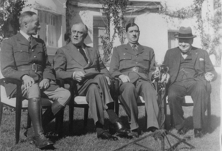 French General Giraud, FDR, de Gaulle, and Churchill at the Casablanca conference [Public domain, wiki]