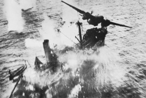 Allied bomber attacks Japanese transport during the Battle of the Bismarck Sea [Public domain, wiki]
