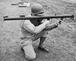 US soldier holding a bazooka, 1943 [Public domain, wiki]