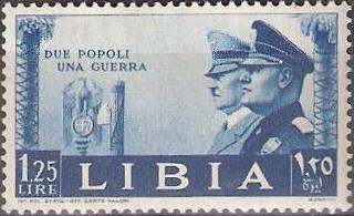 Mussolini/Hitler postage stamp from Libya, issued 1941 [Public domain]