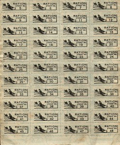 Stamps from US Government ration book, 1943 [Public domain, author: Bill Faulk]