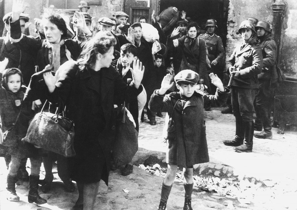 Jewish civilians in the Warsaw ghetto, May 1943 [Public domain]