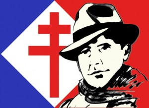 Jean Moulin/Cross of Lorraine background [Attr: I, Gmandicourt, GNU Free Documentation License, Creative Commons]