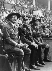 Happier days: Baldur von Schirach (centre) with Japanese boy scout leaders in Bremen, 1937 [Public domain]