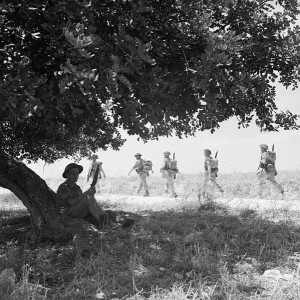 Canadian troops of the Carleton & York Regiment, 3rd Infantry Brigade, move inland from the beaches, Sicily, July 1943 [Public domain]