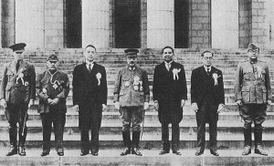 Ba Maw (extreme left) at the Greater East Asia Conference in Tokyo, 5 November 1943; Japanese Prime Minister Hideki Tojo is in the centre [Public domain, wiki]