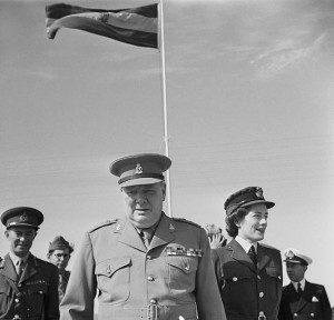 Winston Churchill (in the uniform of his old regiment, the 4th Queen's Own Hussars) and his daughter, Sarah, in Egypt for the Second Cairo Conference, 5 December 1943 [Public domain]