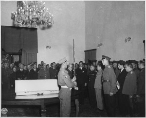 The Sword of Stalingrad is presented by Churchill (on behalf of King George VI) to Joseph Stalin, who received it on behalf of the citizens of Stalingrad; Tehran Conference, November 1943 [Public domain]