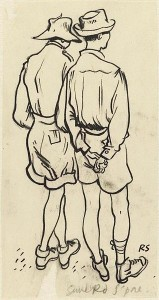 Sketch by Ronald Searle: Two British prisoners in shirts, shorts and bush hats, Sime Road Camp, Singapore, 1 January 1944 [Public domain]
