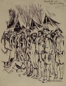 Sketch by Ronald Searle: Guards select from sick and starving British prisoners those considered suitable for heavy labour; Konyu camp, Thailand [Public domain]