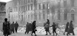 Street scene in Helsinki after the bombing, 1944 [Public domain]