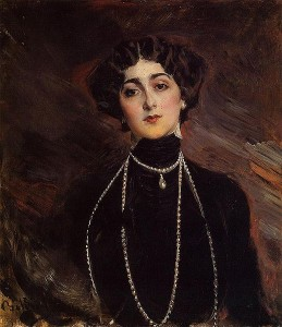 Italian opera singer Lina Cavalieri (1874--1944), painted by artist Giovanni Boldini (1842--1931) [Public domain]