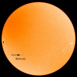 Transit of Mercury that occurred ten years ago, 9 November 2006 [Public domain, NASA]