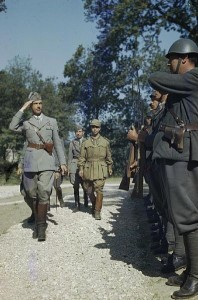 HRH Prince Umberto inspecting a guard of honour during his visit to the Italian Corps of Liberation, Sparanise, Italy 1944 [Public domain]